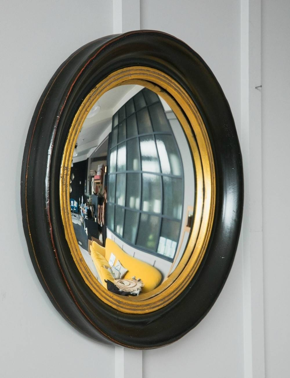 Round Decorative Fish Eye Convex Mirror | Rose & Grey within Black Convex Mirrors (Image 18 of 25)