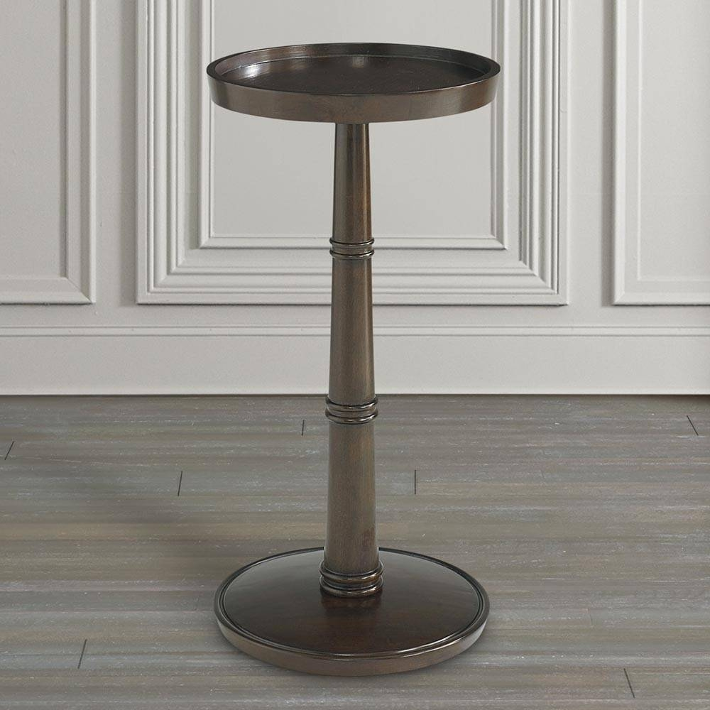 Round Drink Table Brown Or Gray | Bassett Home Furnishings intended for Sofa Drink Tables (Image 23 of 30)