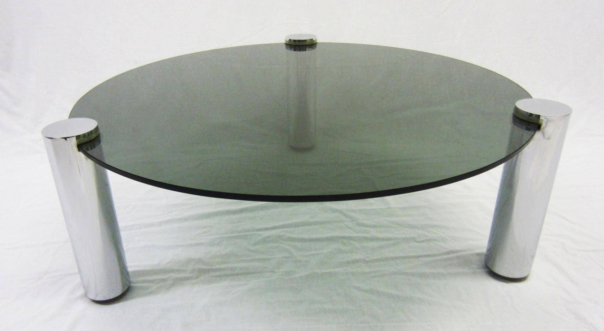 Round Glass And Chrome Coffee Table From Pieff, 1960S For Sale At in Round Chrome Coffee Tables (Image 25 of 30)