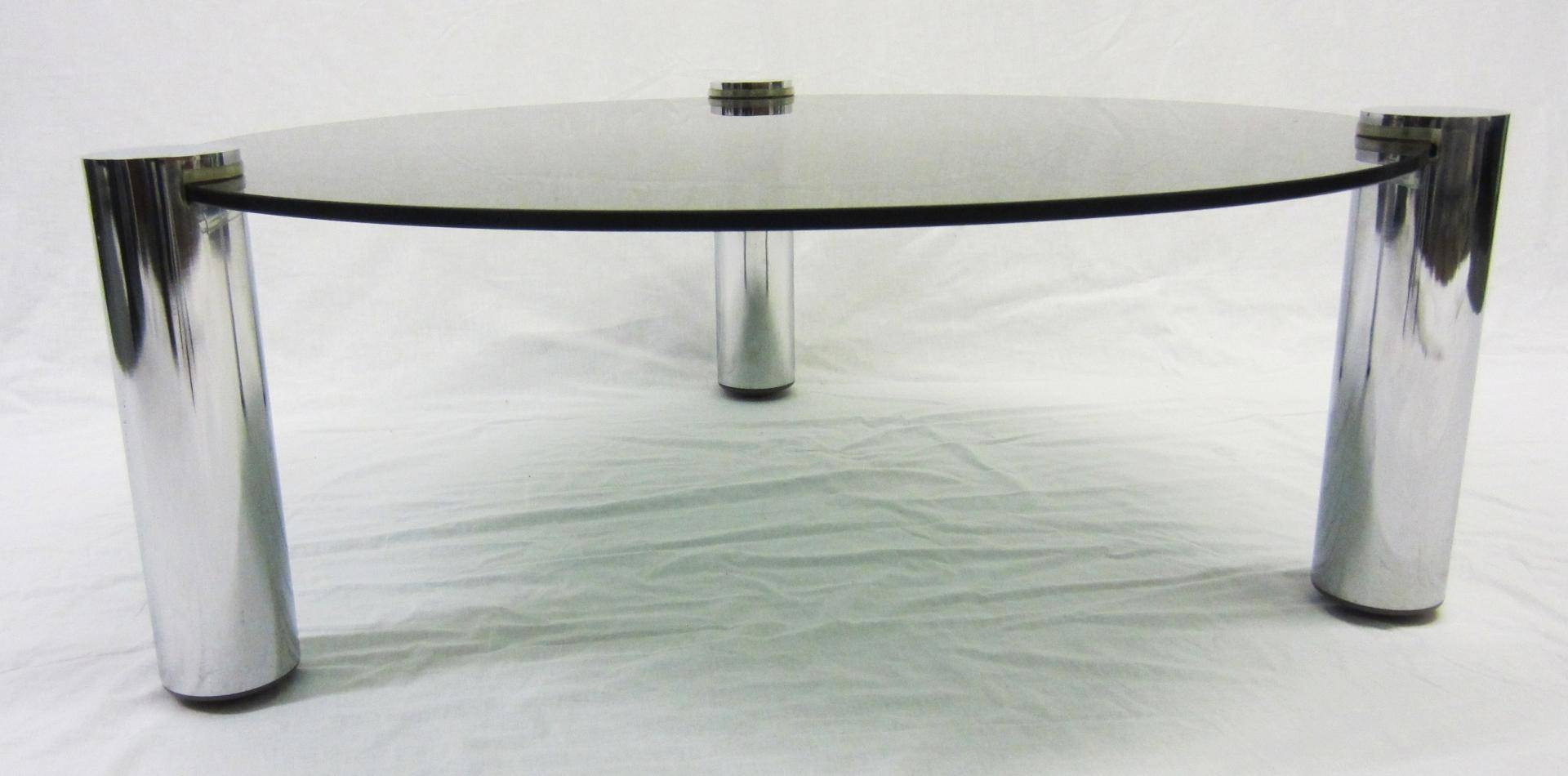 Round Glass And Chrome Coffee Table From Pieff, 1960S For Sale At throughout Round Chrome Coffee Tables (Image 27 of 30)