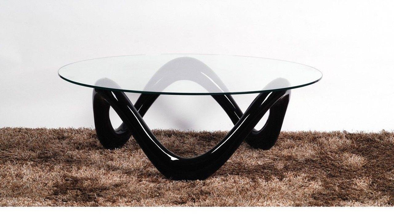 Round Glass Coffee Table With Black High Gloss Base Homegenies in Round High Gloss Coffee Tables (Image 19 of 30)