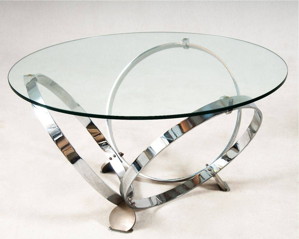 Round Glass Coffee Table With Chrome Legs | Coffee Tables Decoration intended for Chrome and Glass Coffee Tables (Image 23 of 30)