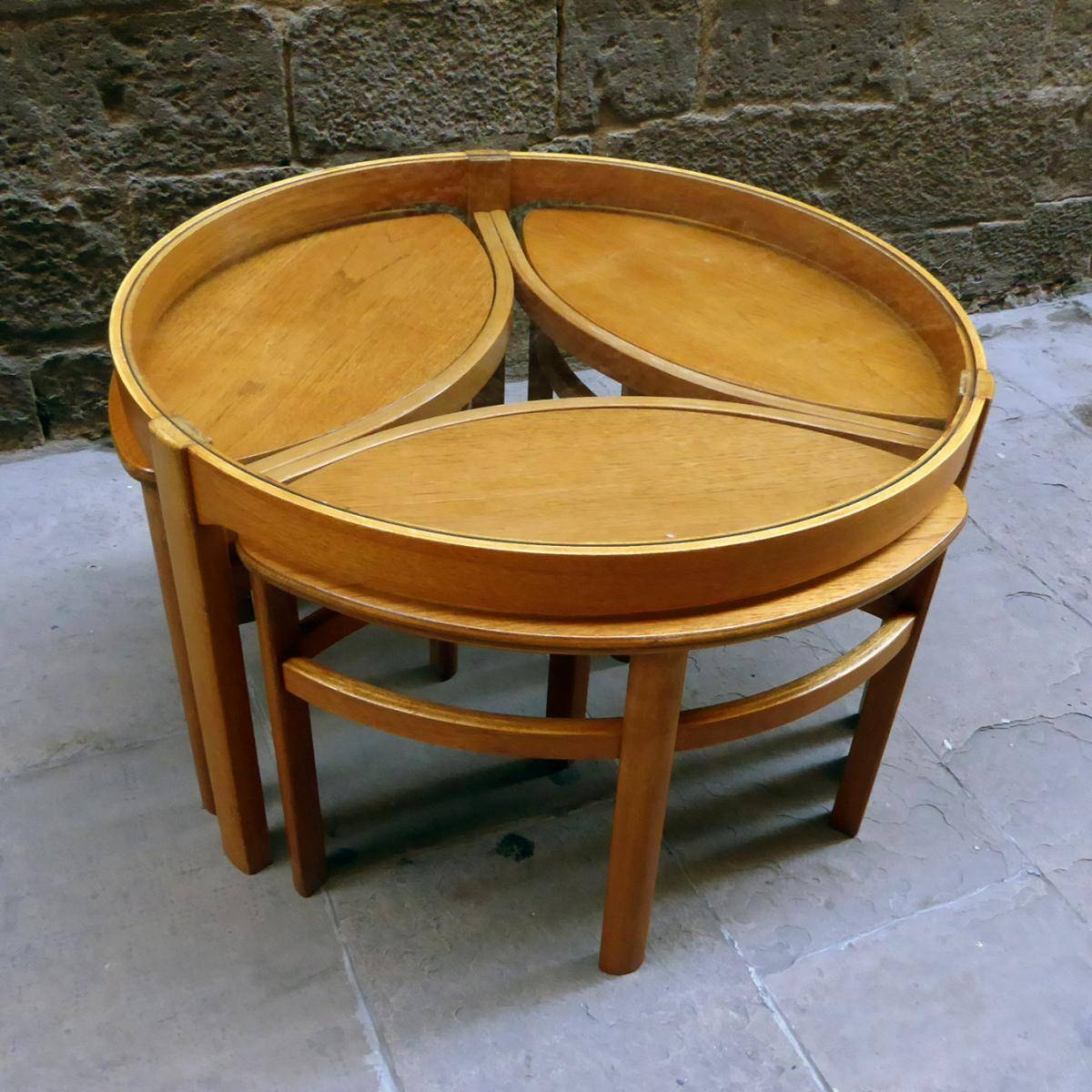 Round Glass Coffee Table With Matching Nesting Tables, Set Of 4 pertaining to Nest Coffee Tables (Image 22 of 30)
