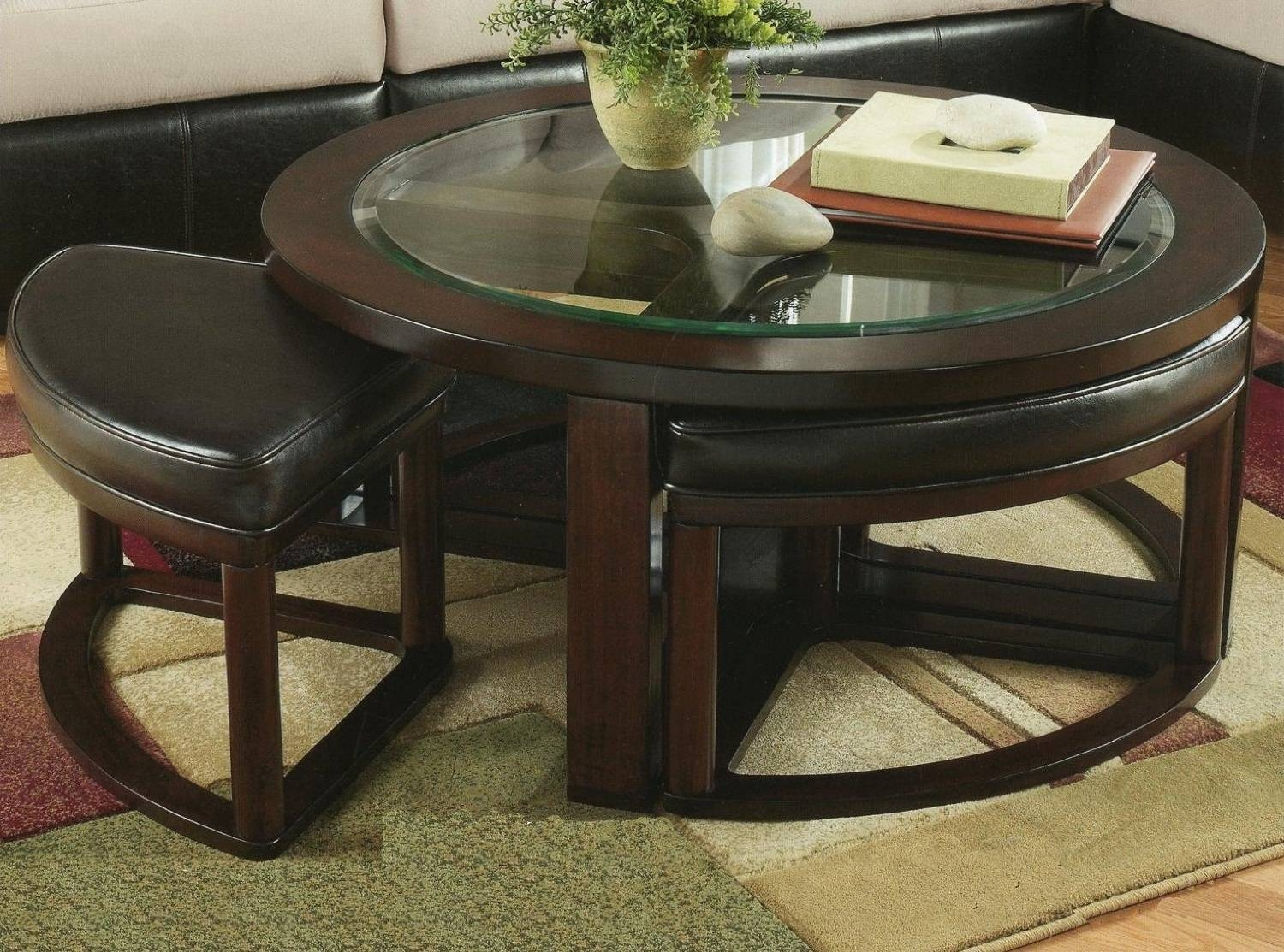 Round Glass Coffee Table With Stools | Roselawnlutheran pertaining to Solid Round Coffee Tables (Image 24 of 30)