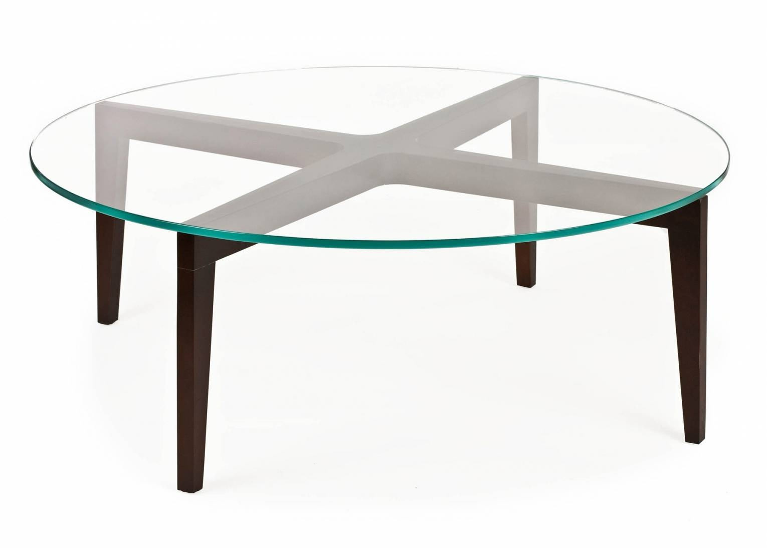 Round Glass Coffee Table With Wood Base - Jericho Mafjar Project throughout Glass Circular Coffee Tables (Image 26 of 31)