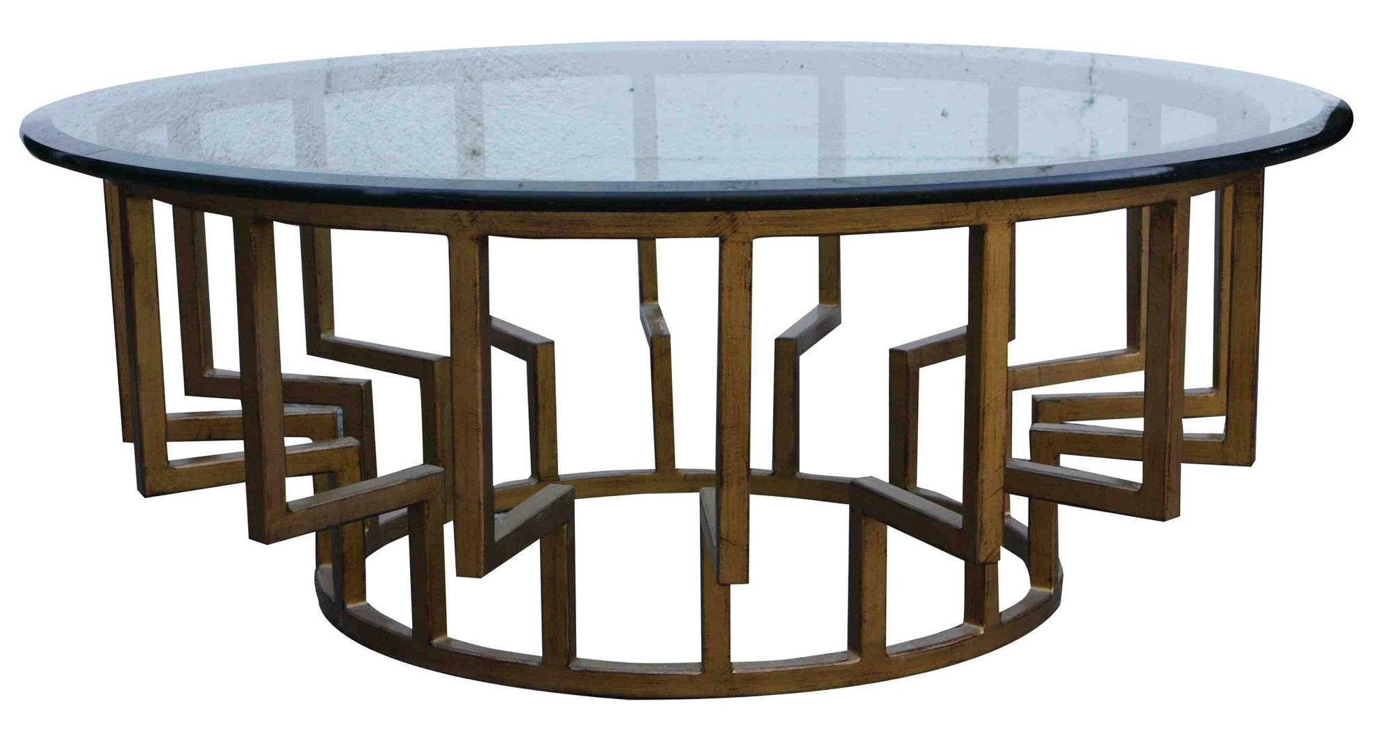 Round Glass Top Coffee Table With Metal Base | Coffee Tables in Round Glass And Wood Coffee Tables (Image 19 of 30)