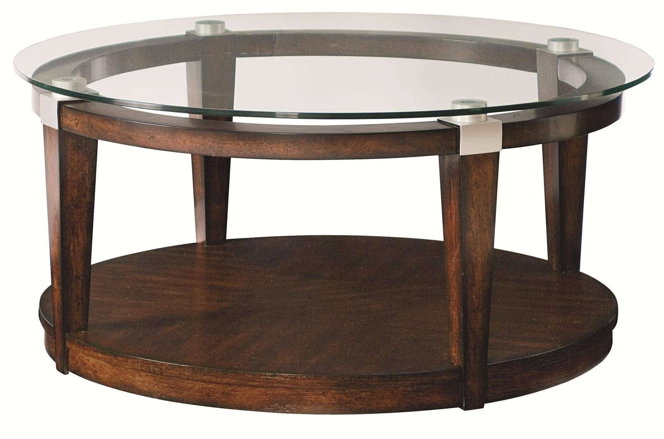Round Glass Top Coffee Table With Wood Base View Here Coffee for Round Glass And Wood Coffee Tables (Image 20 of 30)