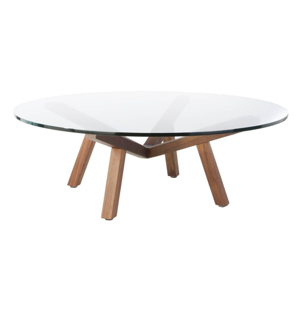 Round Glass Top Wood Base Coffee Table | Coffee Tables Decoration within Round Glass Coffee Tables (Image 22 of 30)