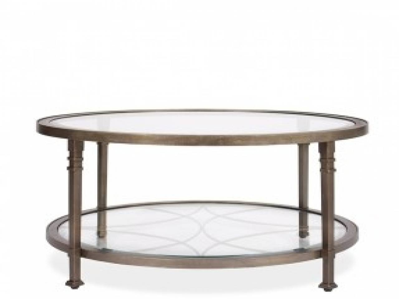 Round Industrial Coffee Table Metal Glass Coffee Tables Round inside Circular Glass Coffee Tables (Image 24 of 30)