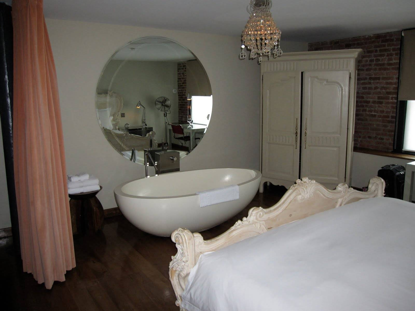 Round Large Mirror In A Bathing Space Inside A Bedroom : Large regarding Round Large Mirrors (Image 21 of 25)
