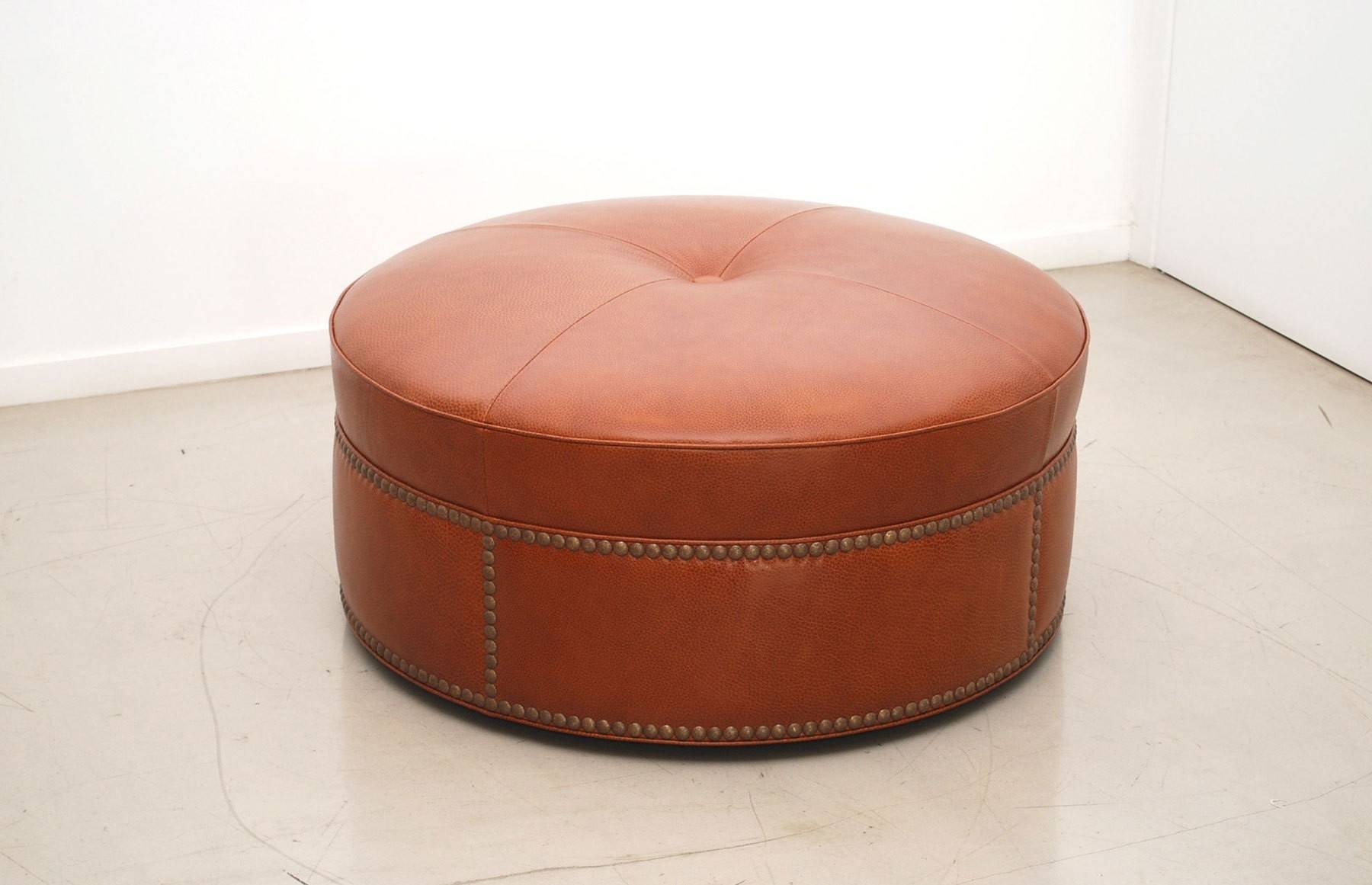 Round Leather Ottomans Coffee Tables Leopard Ottoman White Table for Leopard Ottoman Coffee Tables (Image 27 of 30)