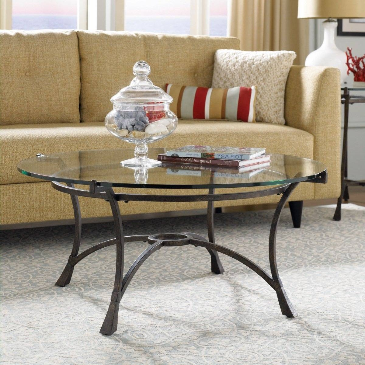 Round Metal Coffee Table With Glass Top Starrkingschool - Jericho with regard to Metal Coffee Tables With Glass Top (Image 28 of 31)
