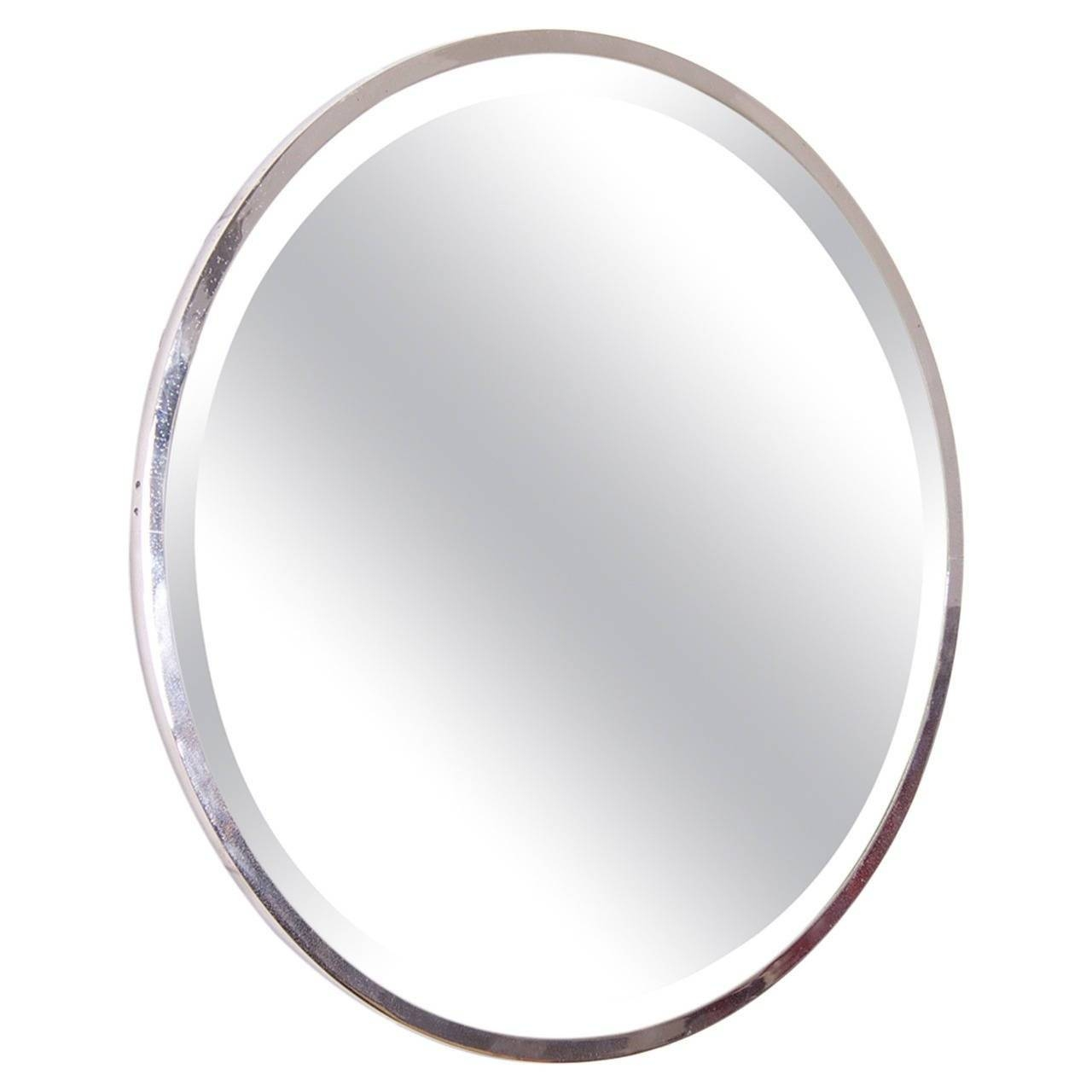 Round Nickel Plated French Art Deco Wall Mirror For Sale At 1Stdibs inside Art Deco Wall Mirrors (Image 23 of 25)