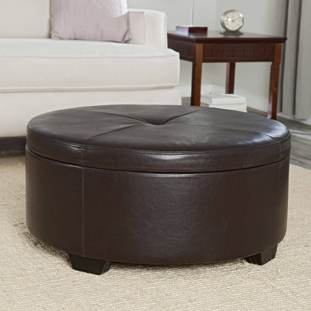 Round Ottoman Coffee Table With Storage - Starrkingschool within Round Coffee Table Storages (Image 27 of 30)