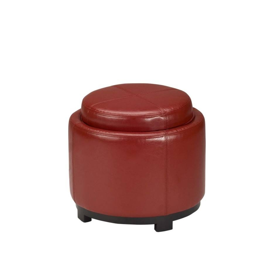 Round Red Leather Tray Ottoman Ottoman Coffee Table Using Dark within Round Red Coffee Tables (Image 29 of 30)