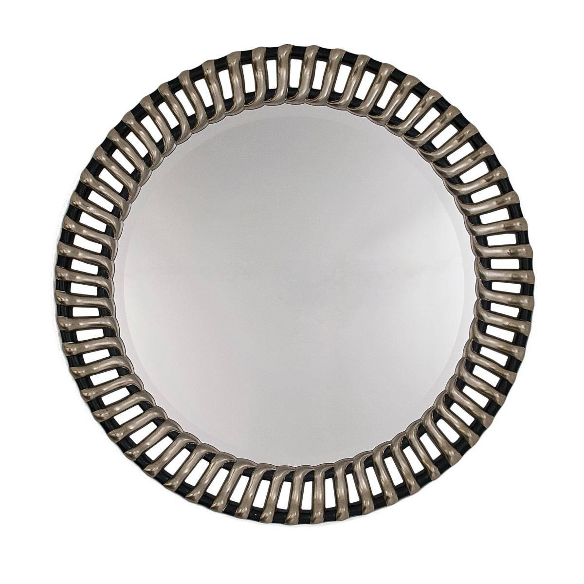 Round Ribbed Framed Silver And Black Bevelled Wall Mirror Regarding Silver Oval Mirrors (View 18 of 25)