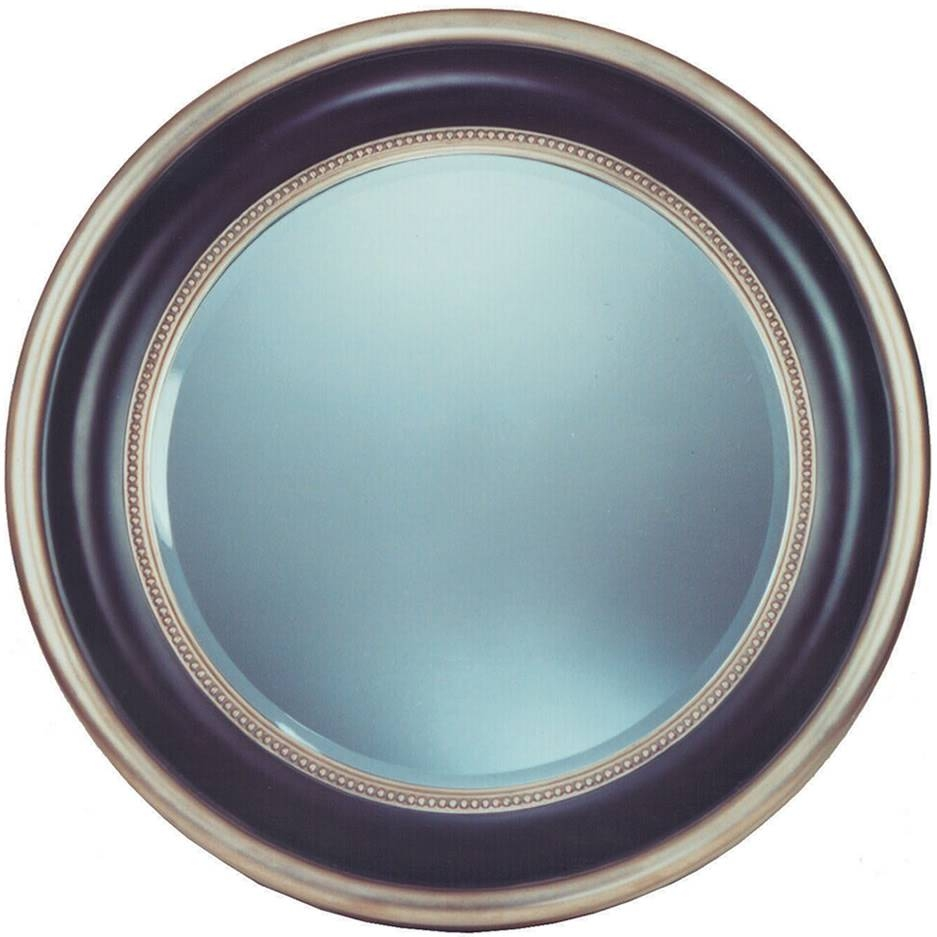 Round Silver Black Bevel Mirror – Mirrors.ie within Black Bevelled Mirrors (Image 9 of 13)