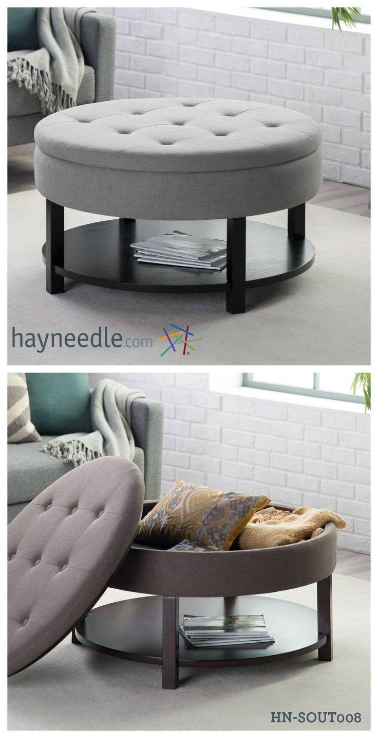 Round Storage Ottoman Coffee Table | Coffee Tables Decoration with regard to Round Storage Coffee Tables (Image 28 of 30)