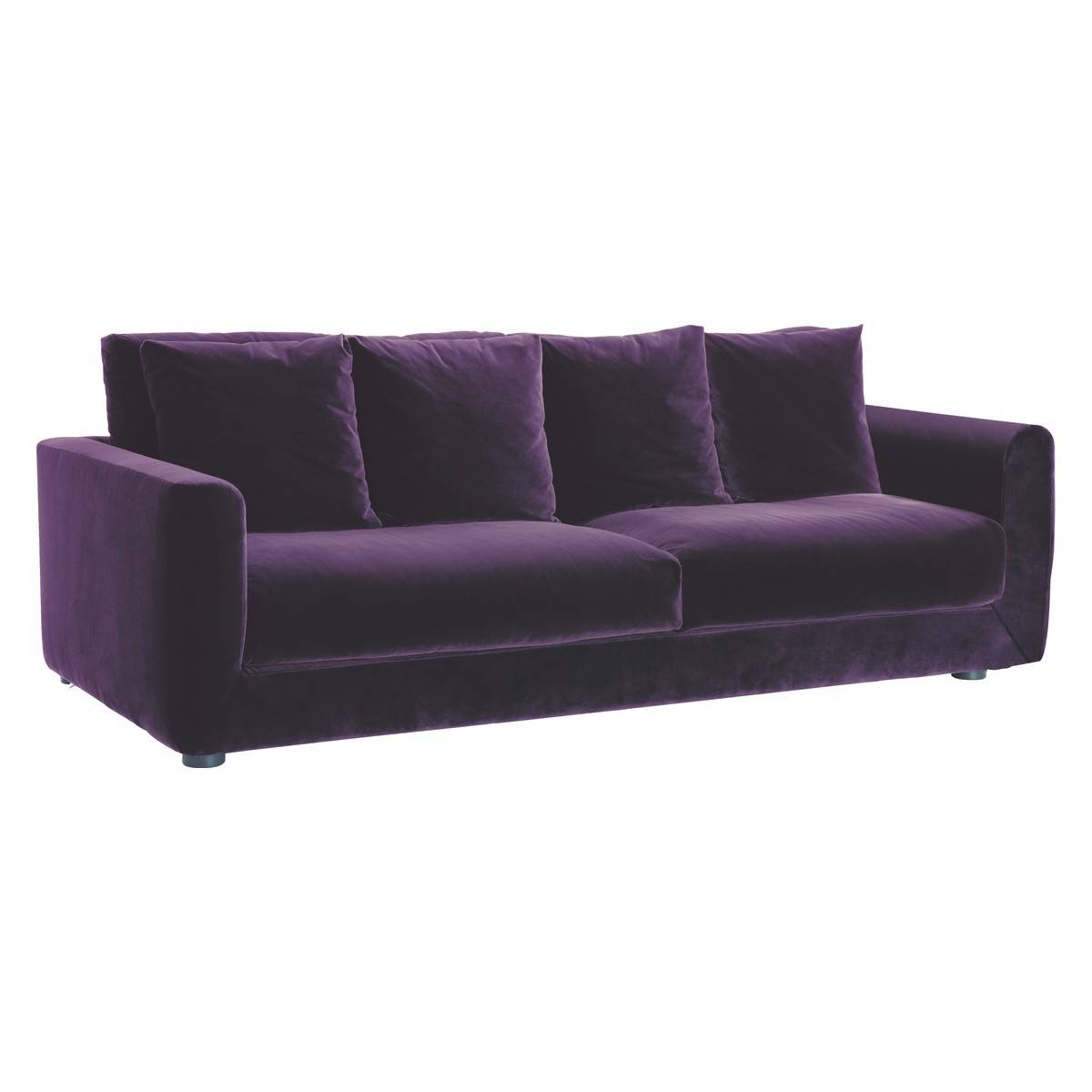 Rupert Purple Velvet 3 Seater Sofa | Buy Now At Habitat Uk intended for Large 4 Seater Sofas (Image 28 of 30)