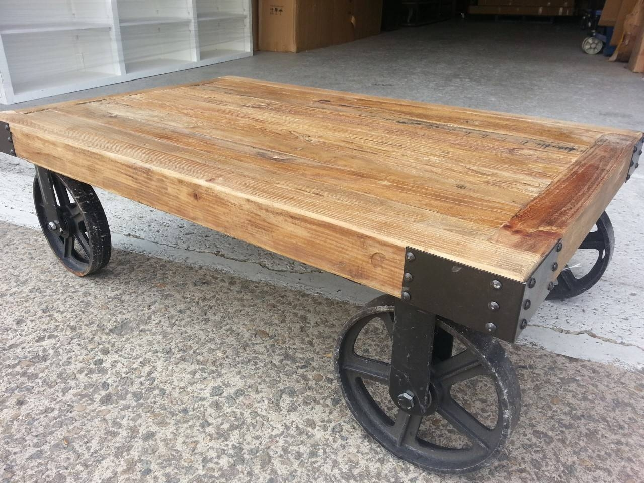 Rustic Coffee Table On Wheels. Chalk Painted Vintage Wagon Wheel for Wheels Coffee Tables (Image 23 of 30)