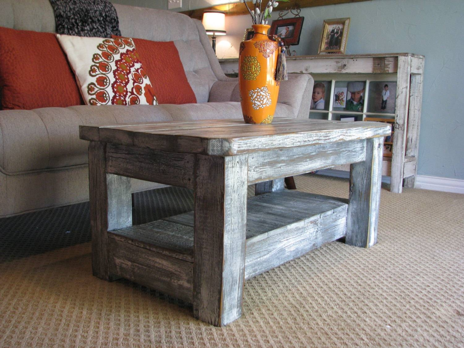 "Rustic Coffee Table With Shelf In ""weathered Grey"" **choose From intended for Rounded Corner Coffee Tables (Image 24 of 30)"