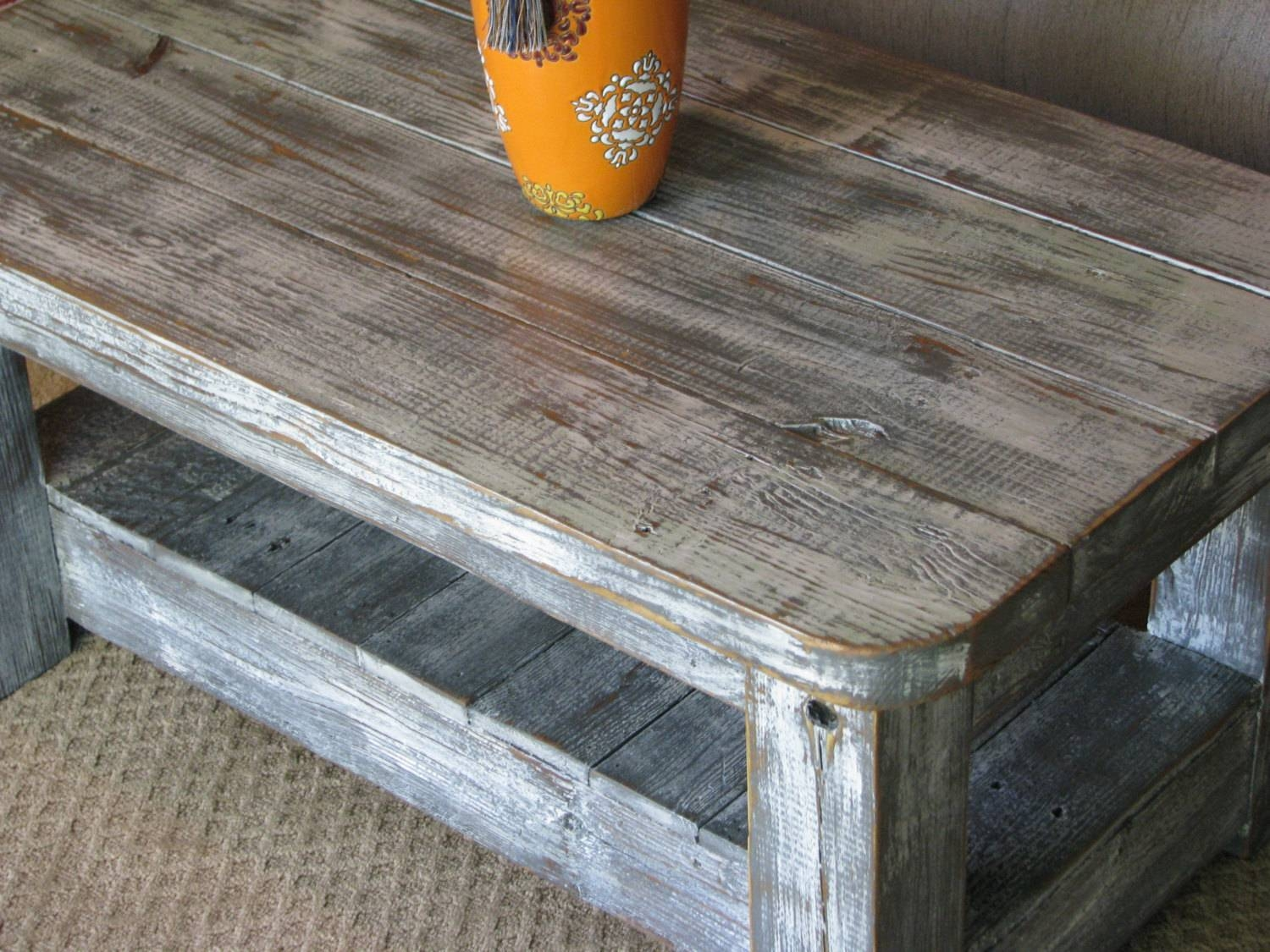 "Rustic Coffee Table With Shelf In ""weathered Grey"" **choose From within Coffee Tables With Rounded Corners (Image 23 of 30)"