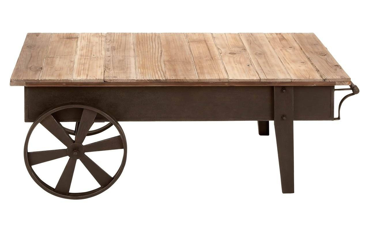 30 inspirations of wheels coffee tables for Rustic coffee table with casters