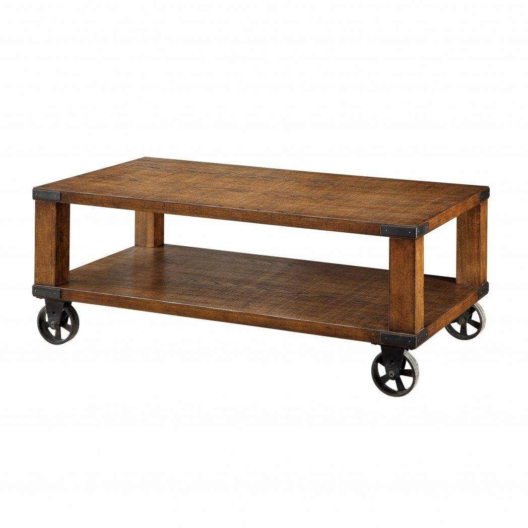 Rustic Coffee Table With Wheels Home For You Modern / Thippo with Coffee Tables With Wheels (Image 29 of 30)