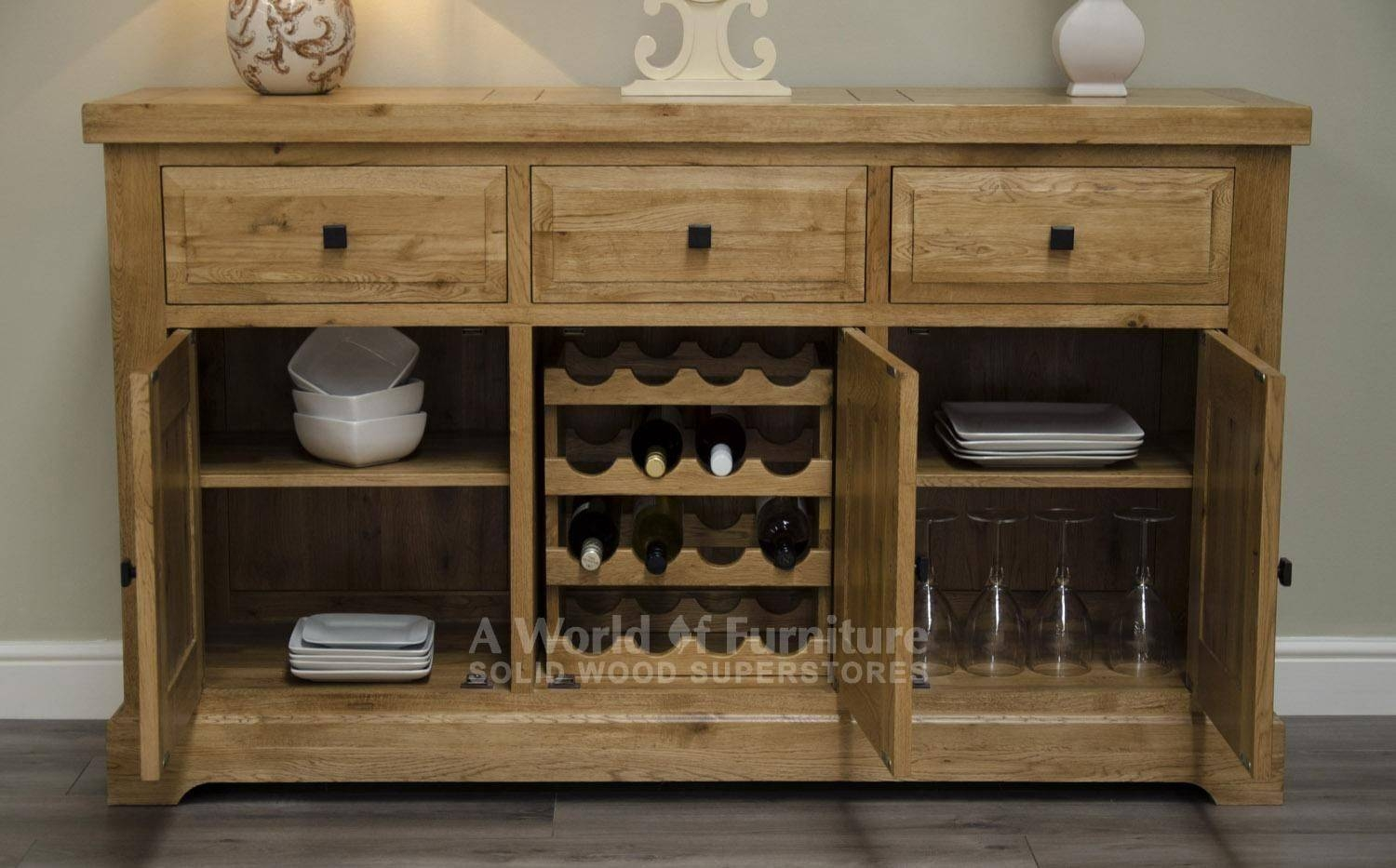 Rustic Deluxe 3 Door Sideboard With Internal Wine Rack | A World pertaining to Oak Sideboards With Wine Rack (Image 14 of 30)