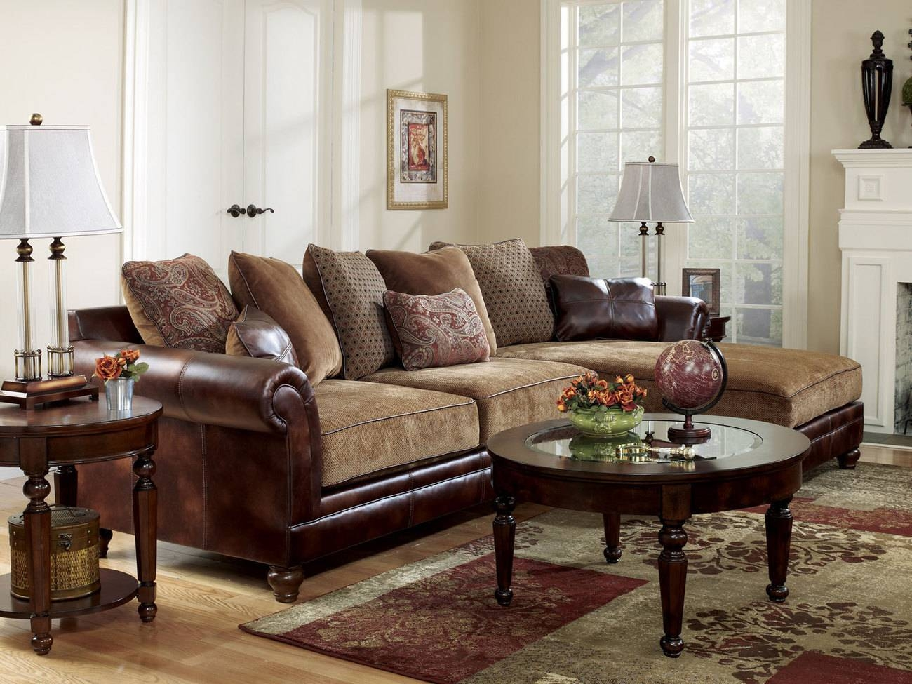 Rustic Leather Sectional Sofa - Bible-Saitama throughout Chenille And Leather Sectional Sofa (Image 25 of 30)