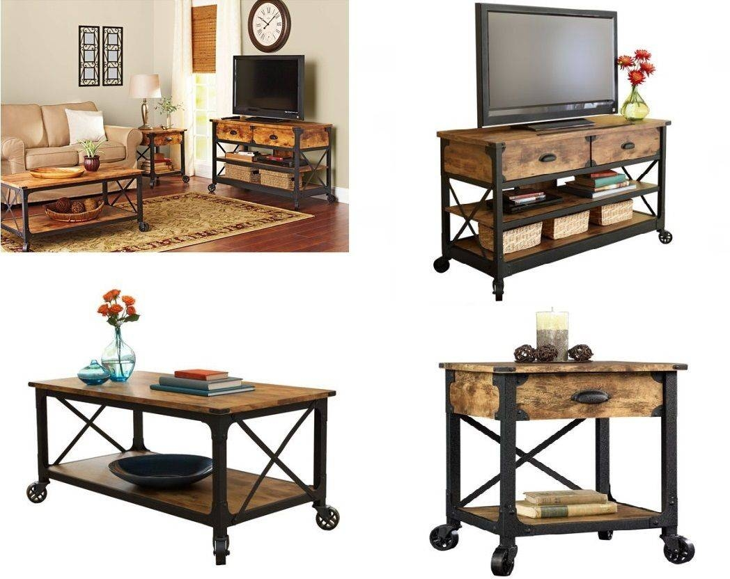 Rustic Living Room Set Coffee Table Tv Stand Nightstand Wood throughout Tv Cabinet And Coffee Table Sets (Image 24 of 30)