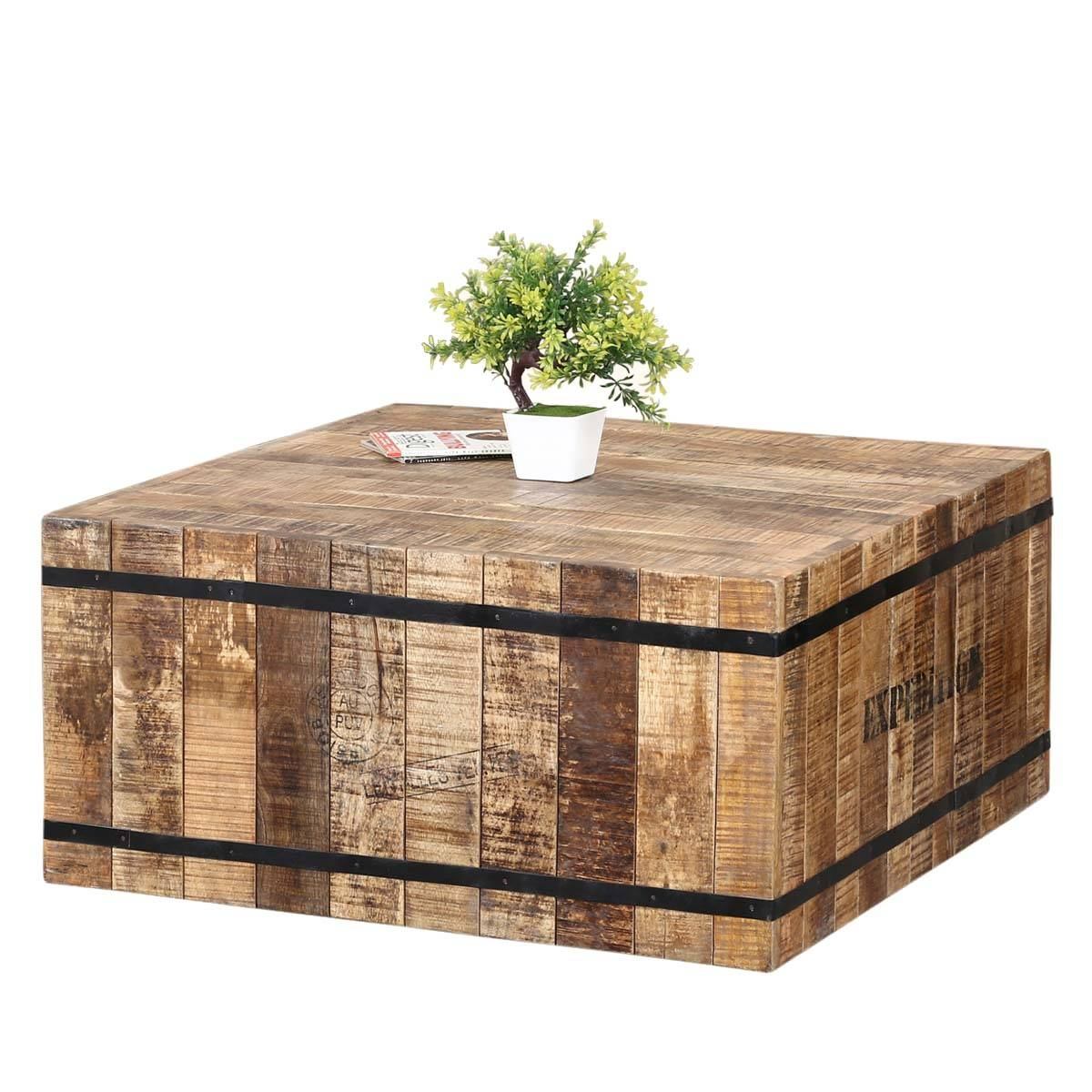 Rustic Mango Wood & Iron Square Box Style Coffee Table intended for Mango Wood Coffee Tables (Image 23 of 30)