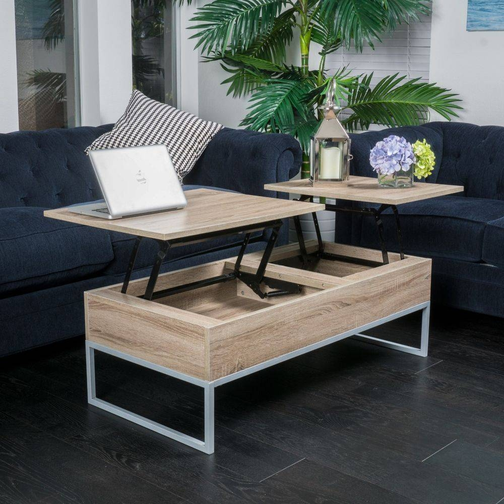 Rustic Modern Natural Brown Wood Lift Top Storage Coffee Table | Ebay inside Desk Coffee Tables (Image 22 of 30)