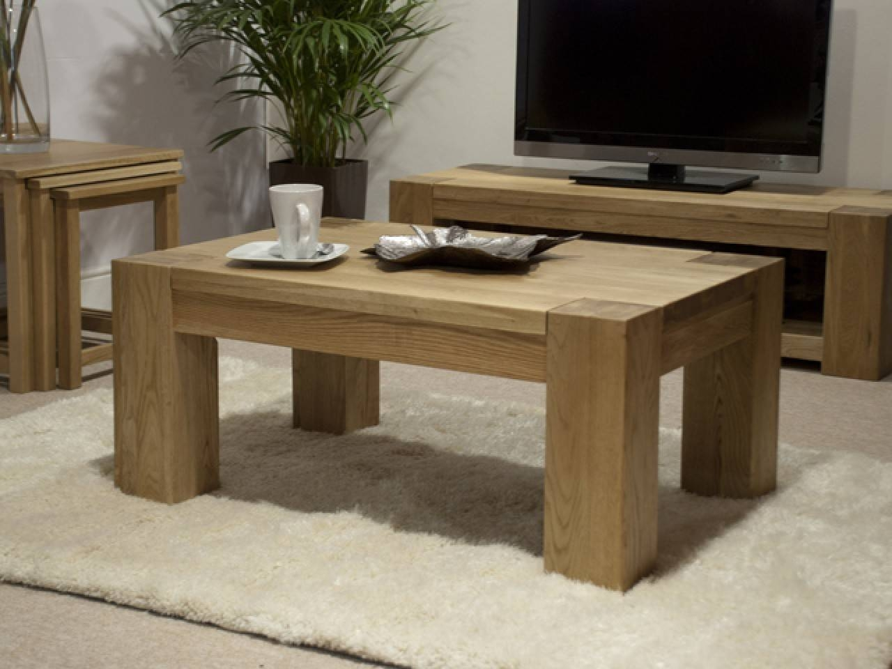 Rustic Oak Coffee Table Rectangular Square Tables Arizona intended for Square Oak Coffee Tables (Image 24 of 30)