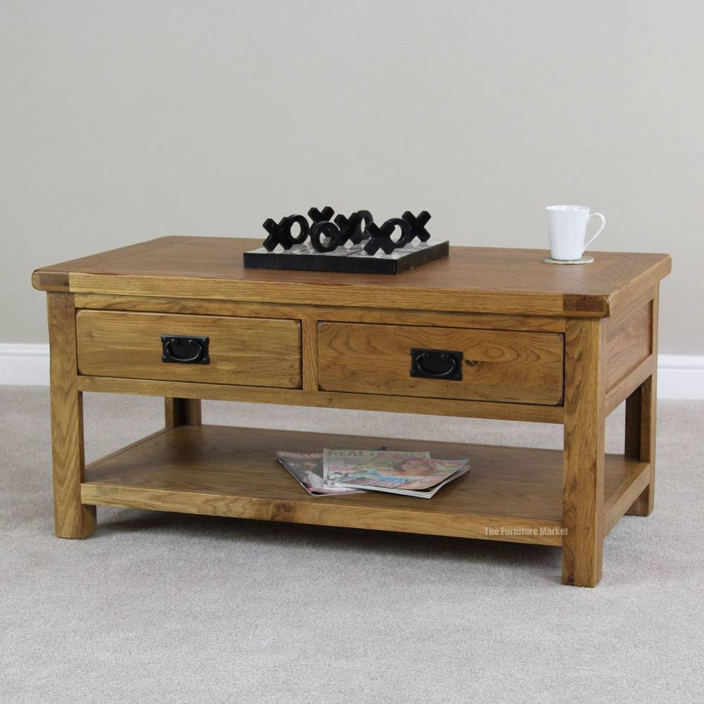 Rustic Oak Coffee Table With Drawers Tables Decoration Pertaining To