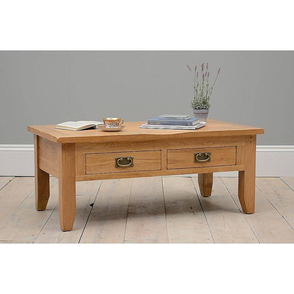 Rustic Oak Coffee Table With Drawers Including Free Delivery in Oak Coffee Table With Drawers (Image 10 of 15)