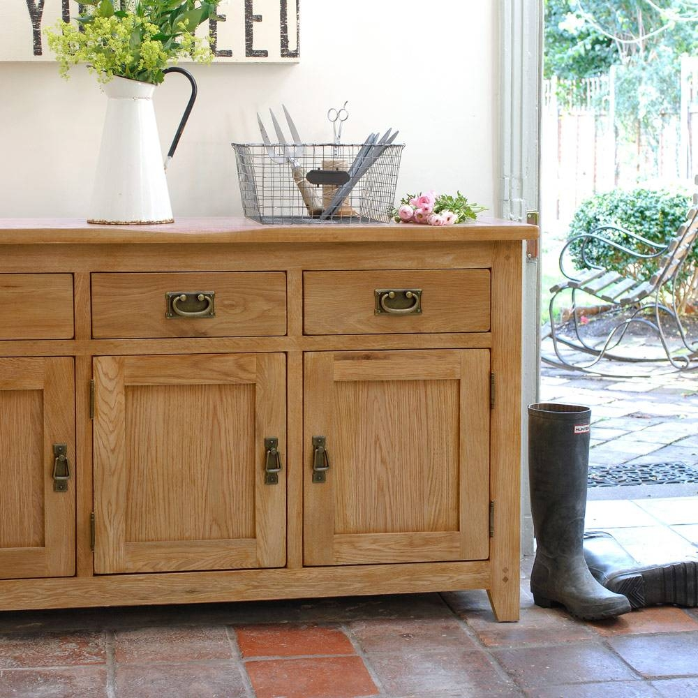 Rustic Oak Large Sideboard Including Free Delivery (608.016 throughout Oak Sideboards for Sale (Image 17 of 30)