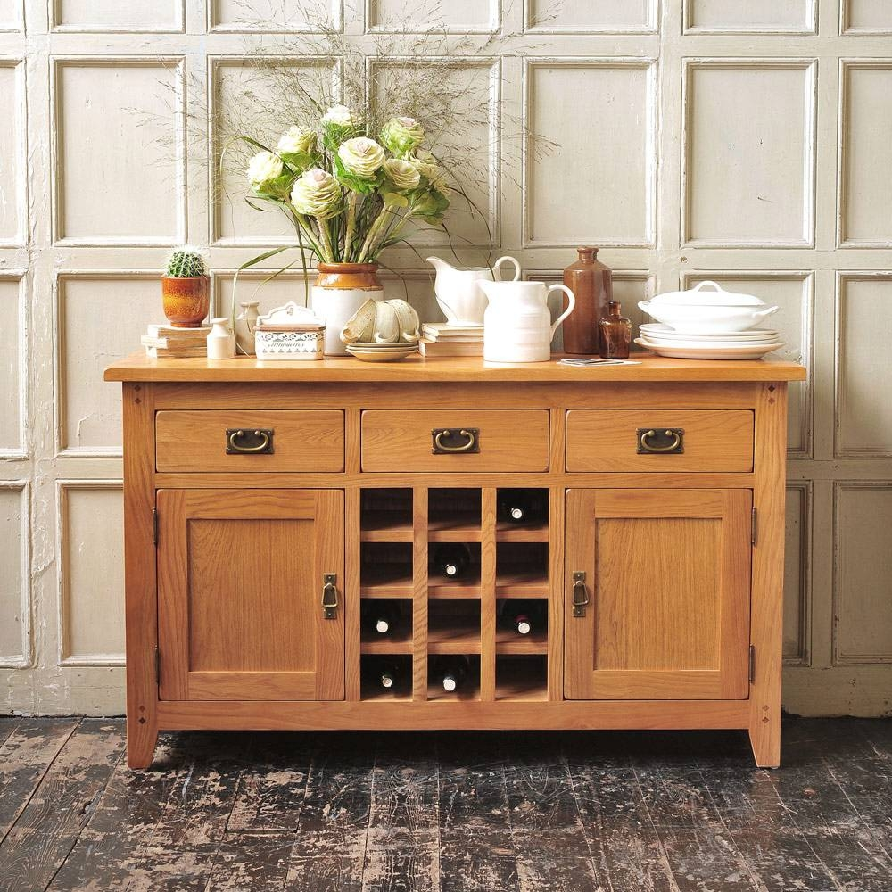 Rustic Oak Sideboard With Wine Rack Including Free Delivery inside Oak Sideboards (Image 21 of 30)