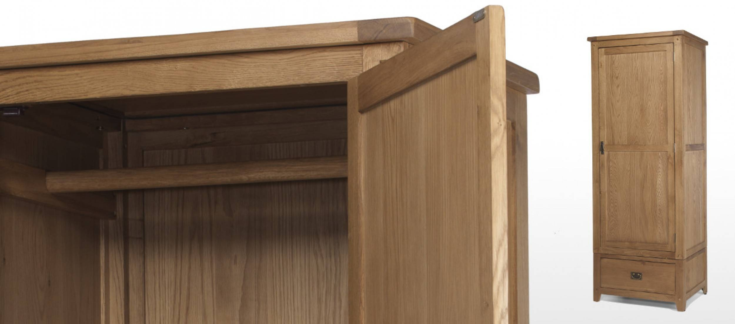 Rustic Oak Single Wardrobe | Quercus Living inside Single Oak Wardrobes With Drawers (Image 13 of 15)