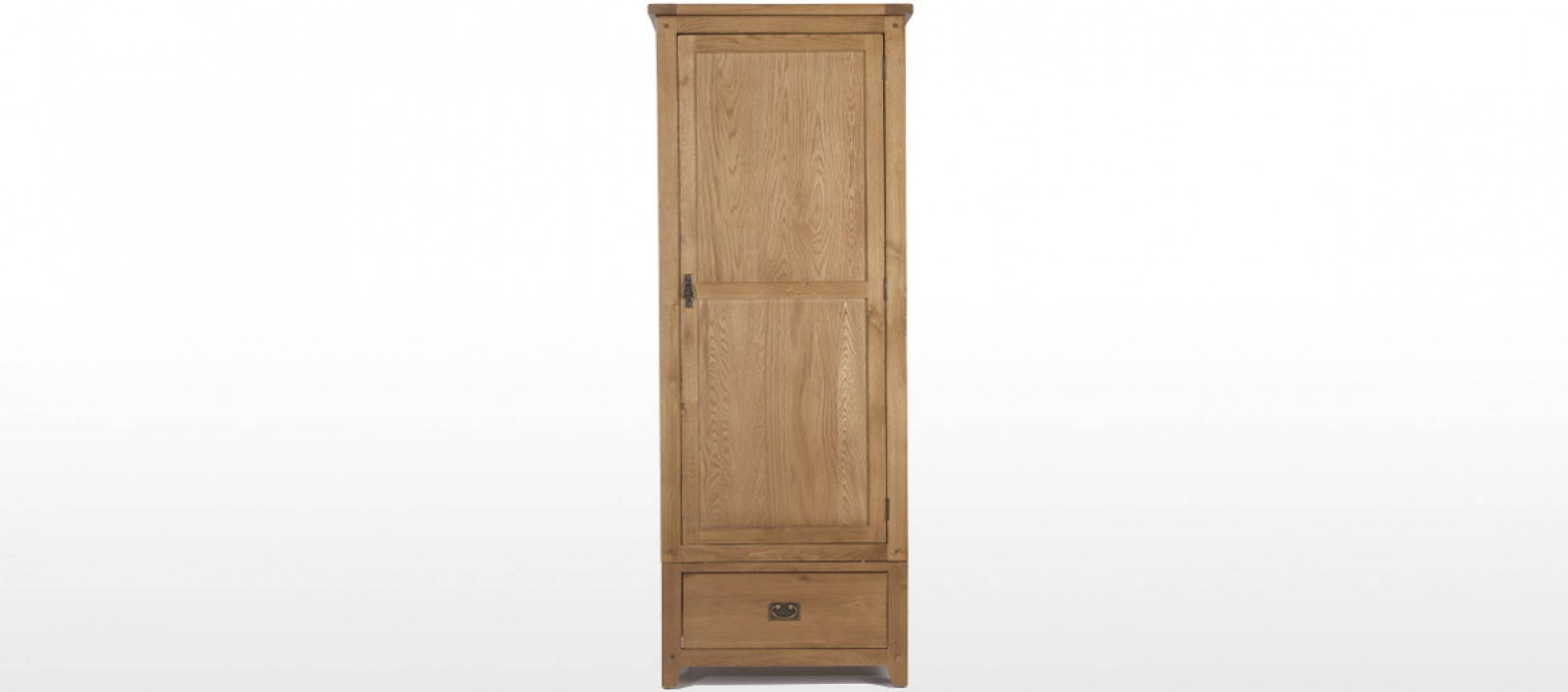 Rustic Oak Single Wardrobe | Quercus Living with Single Oak Wardrobes With Drawers (Image 14 of 15)