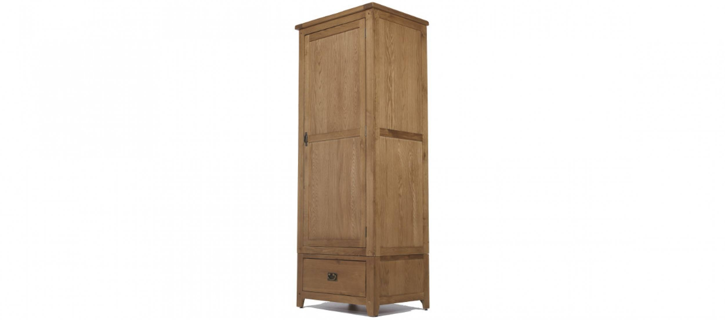 Rustic Oak Single Wardrobe | Quercus Living within Single Pine Wardrobes (Image 10 of 15)