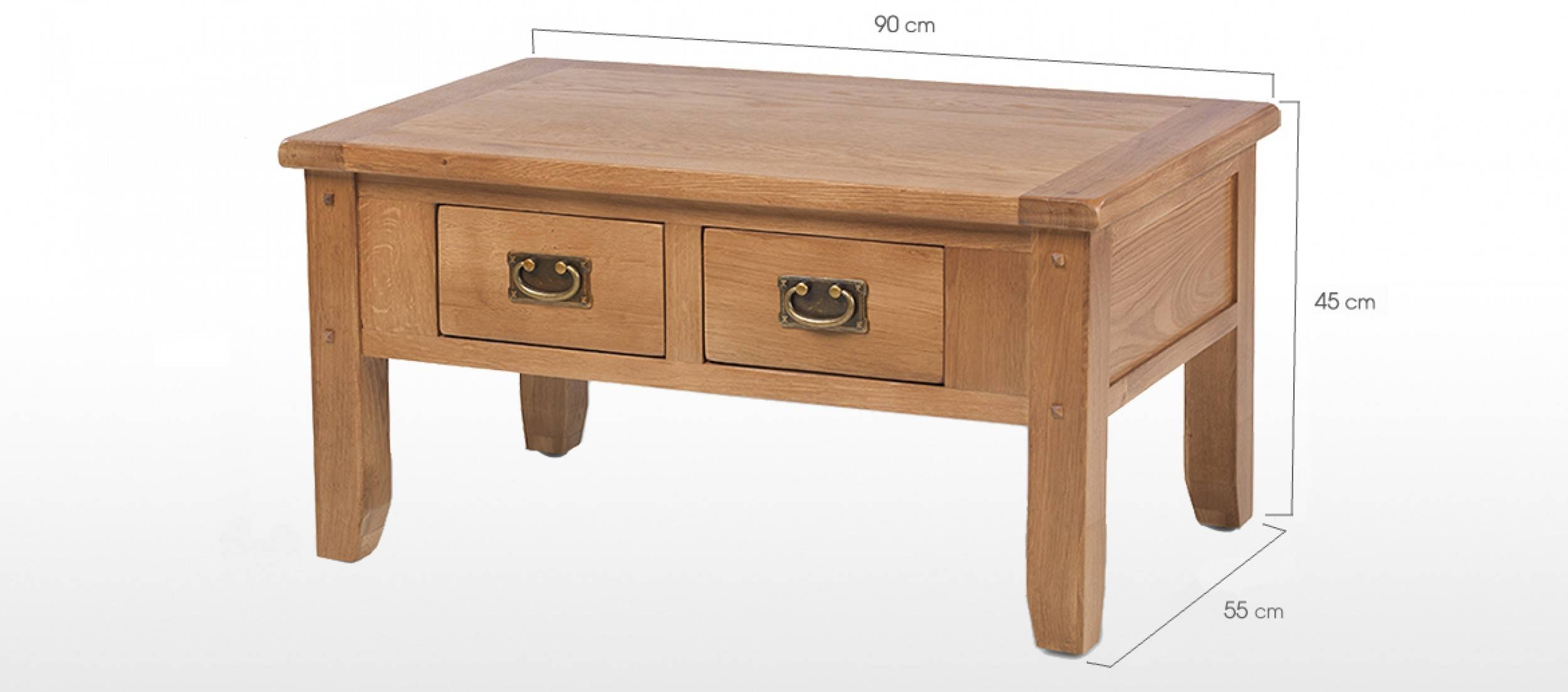 Rustic Oak Small 2 Drawer Coffee Table | Quercus Living within Small Coffee Tables With Drawer (Image 23 of 30)