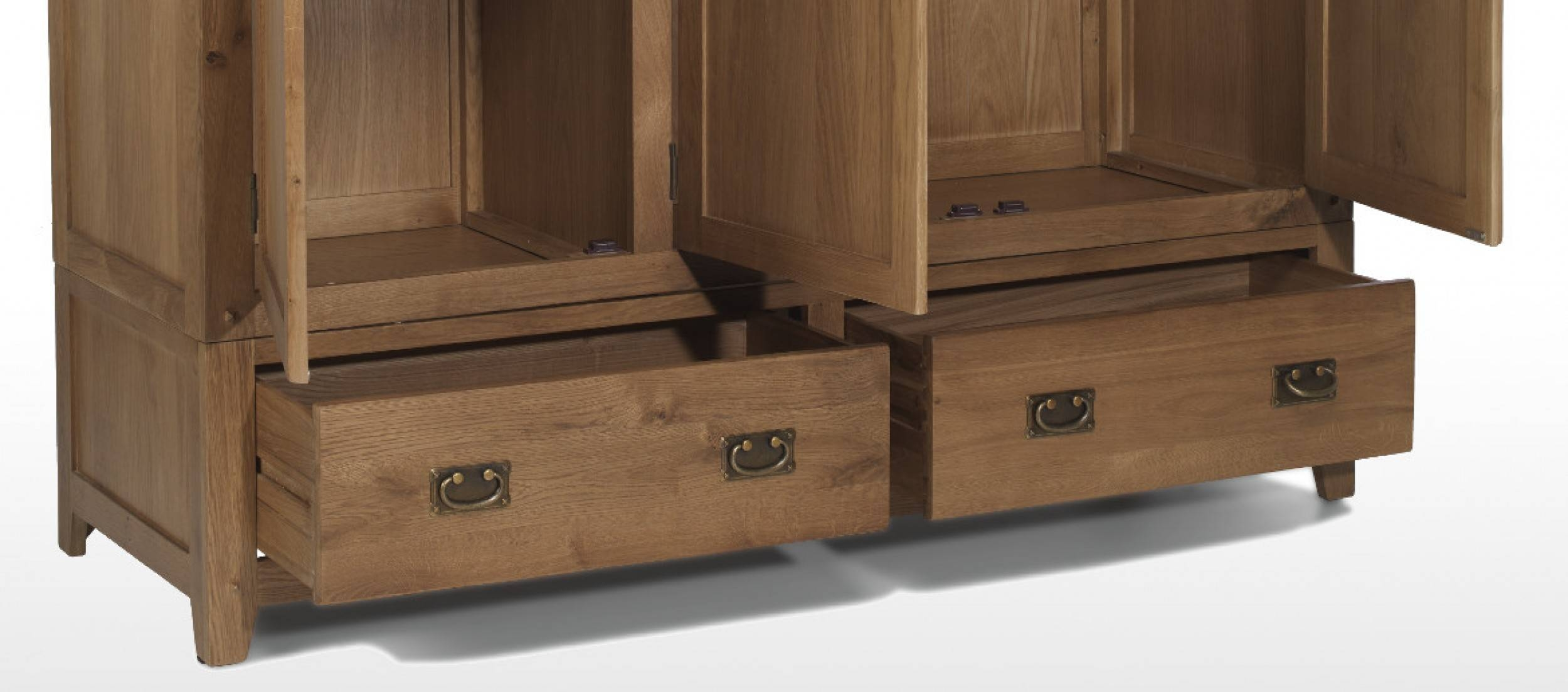 Rustic Oak Triple Wardrobe With Drawers | Quercus Living for Triple Oak Wardrobes (Image 12 of 15)