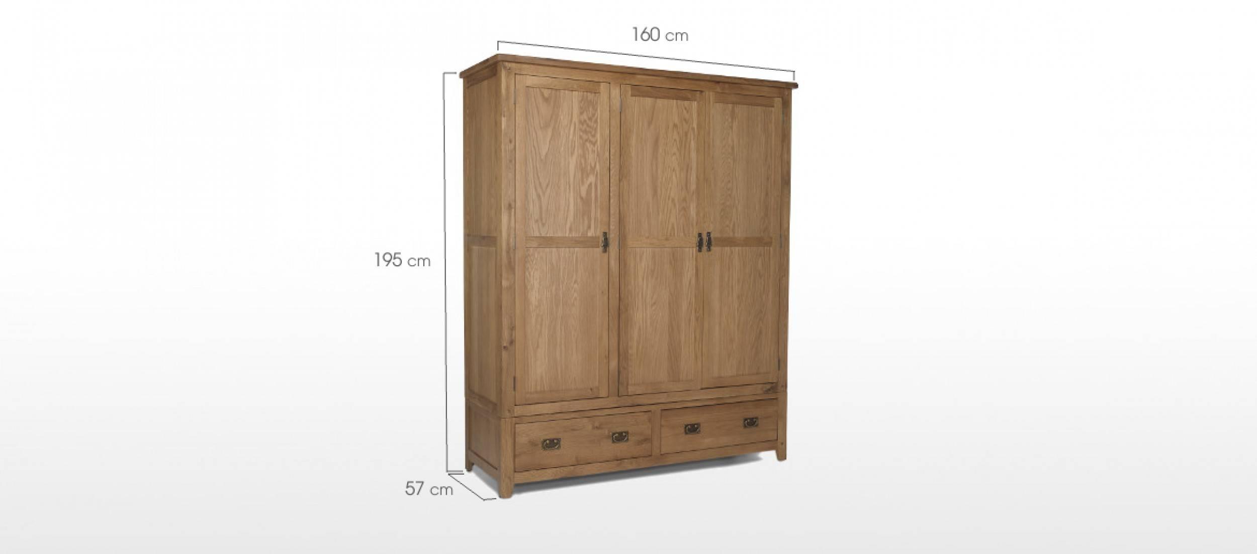 Rustic Oak Triple Wardrobe With Drawers | Quercus Living inside Triple Wardrobes With Drawers (Image 12 of 15)