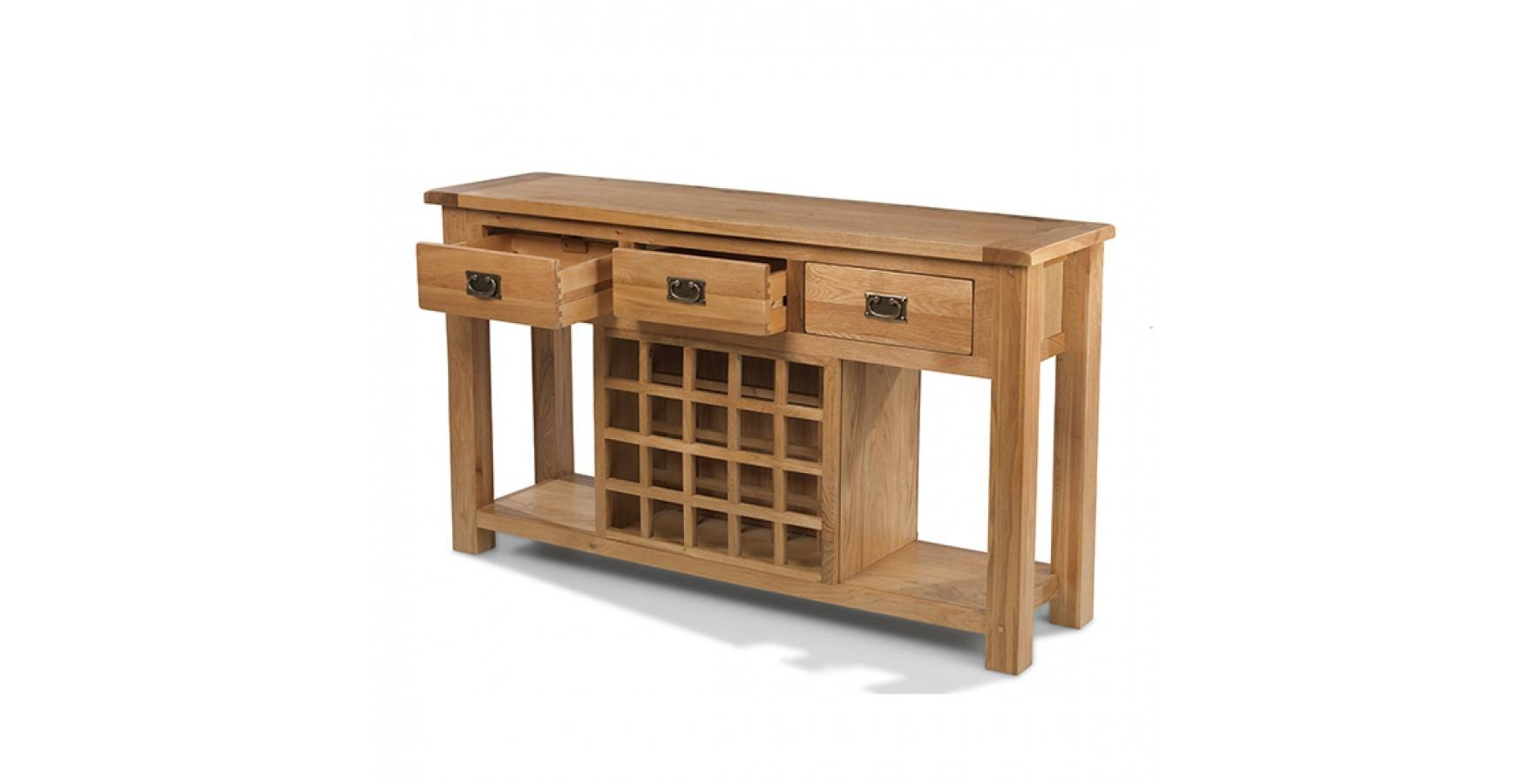Rustic Oak Wine Rack Console Table - Lifestyle Furniture Uk for Oak Sideboards With Wine Rack (Image 16 of 30)