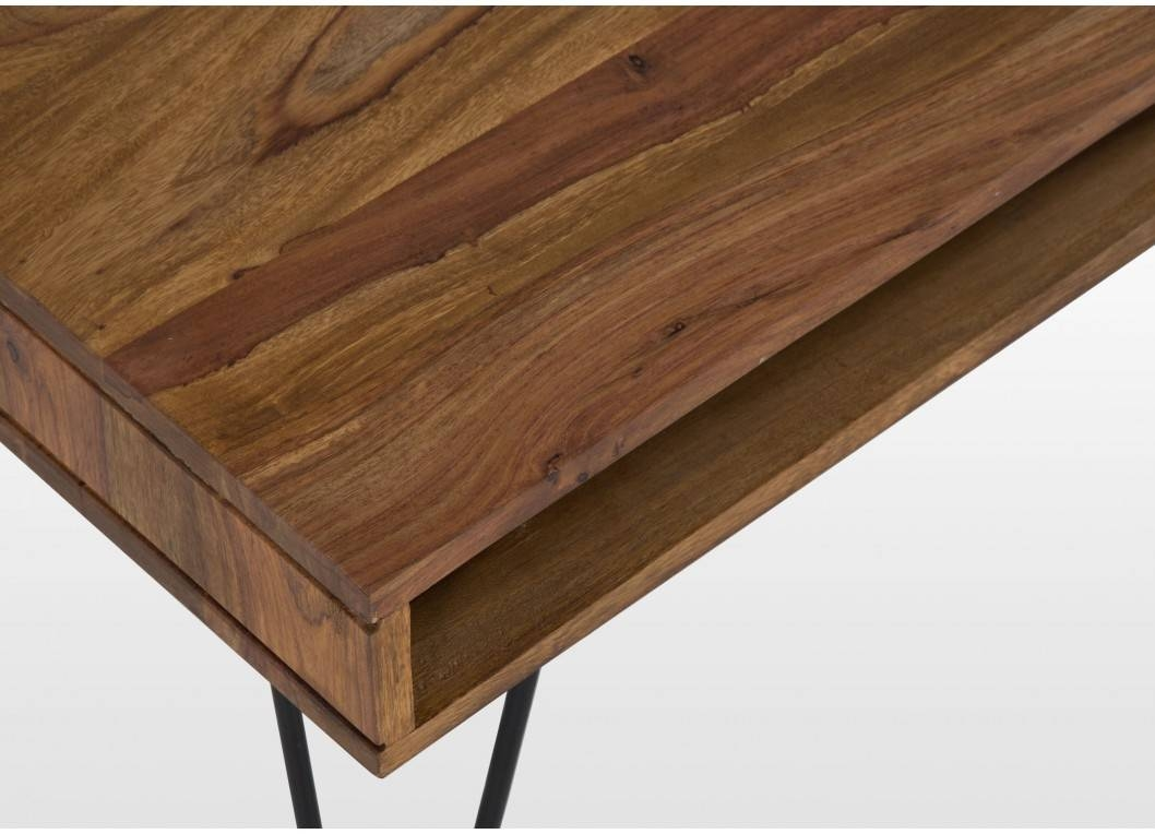 Rustic Sheesham Wood Coffee Table With Metal Hairpin Legs - Milo with regard to Sheesham Coffee Tables (Image 17 of 30)