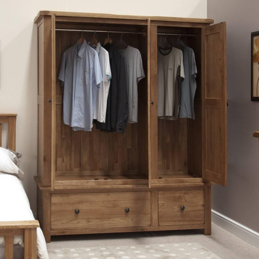 Rustic Solid Oak 3 Door Triple Wardrobe   Oak Furniture Uk In Oak 3 Door Wardrobes (View 11 of 15)