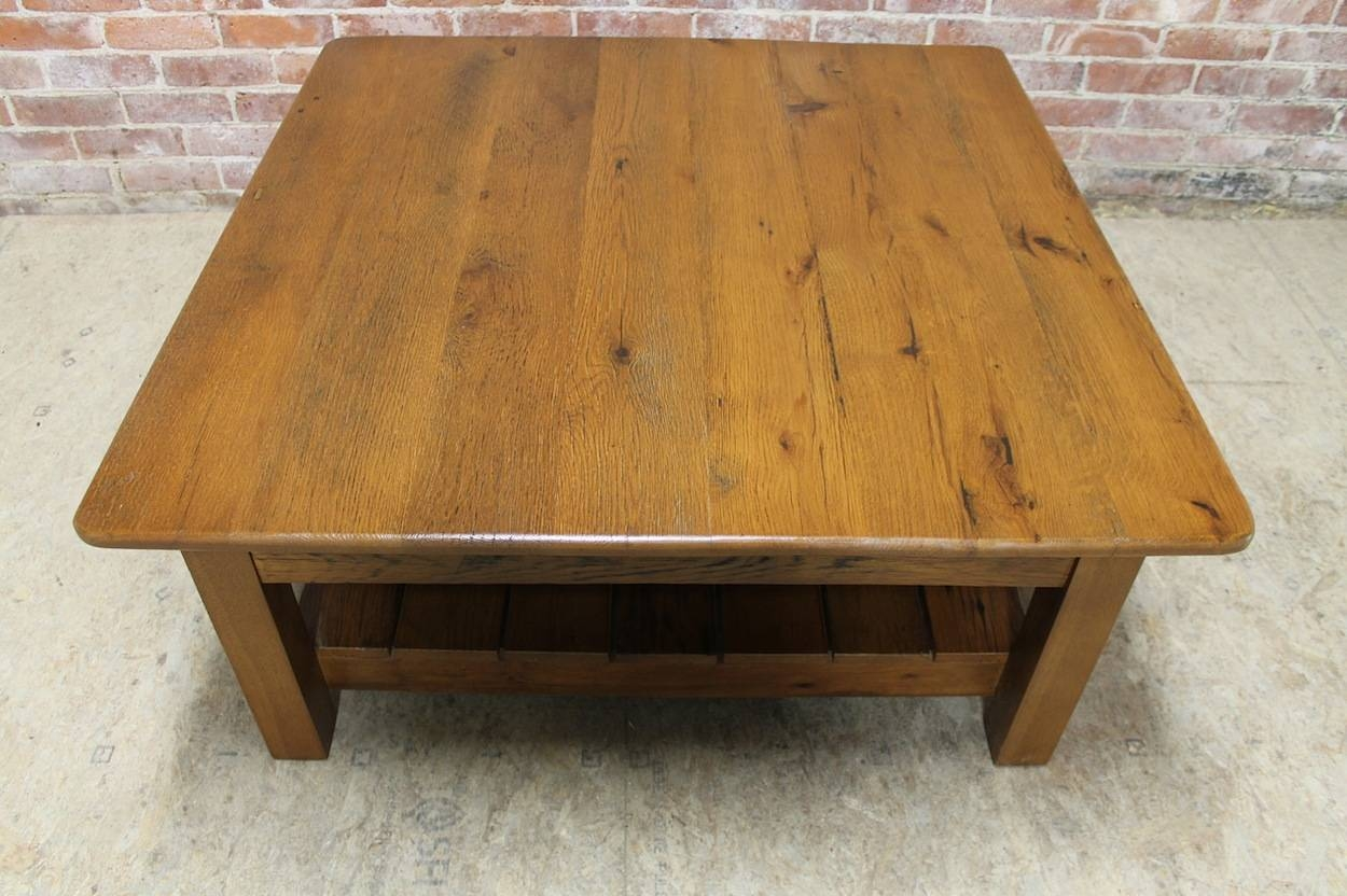 Rustic Square Coffee Table - Lake And Mountain Home within Square Oak Coffee Tables (Image 25 of 30)