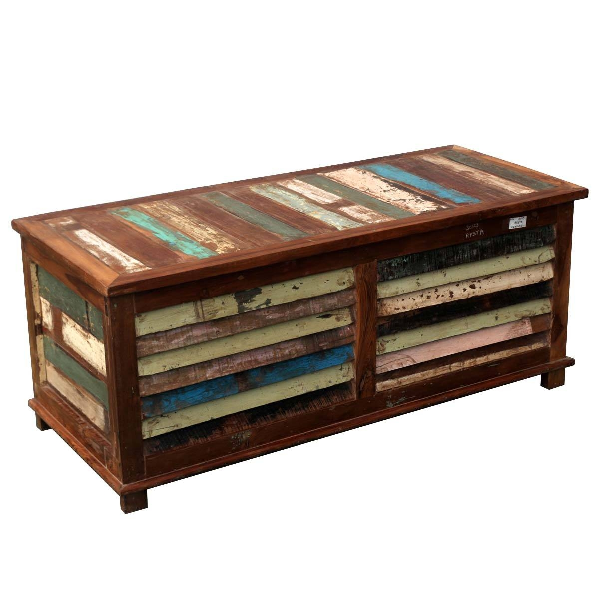 Rustic Wooden Chest Trunk Blanket Box Shabby Vintage Coffee Table in Blanket Box Coffee Tables (Image 19 of 30)
