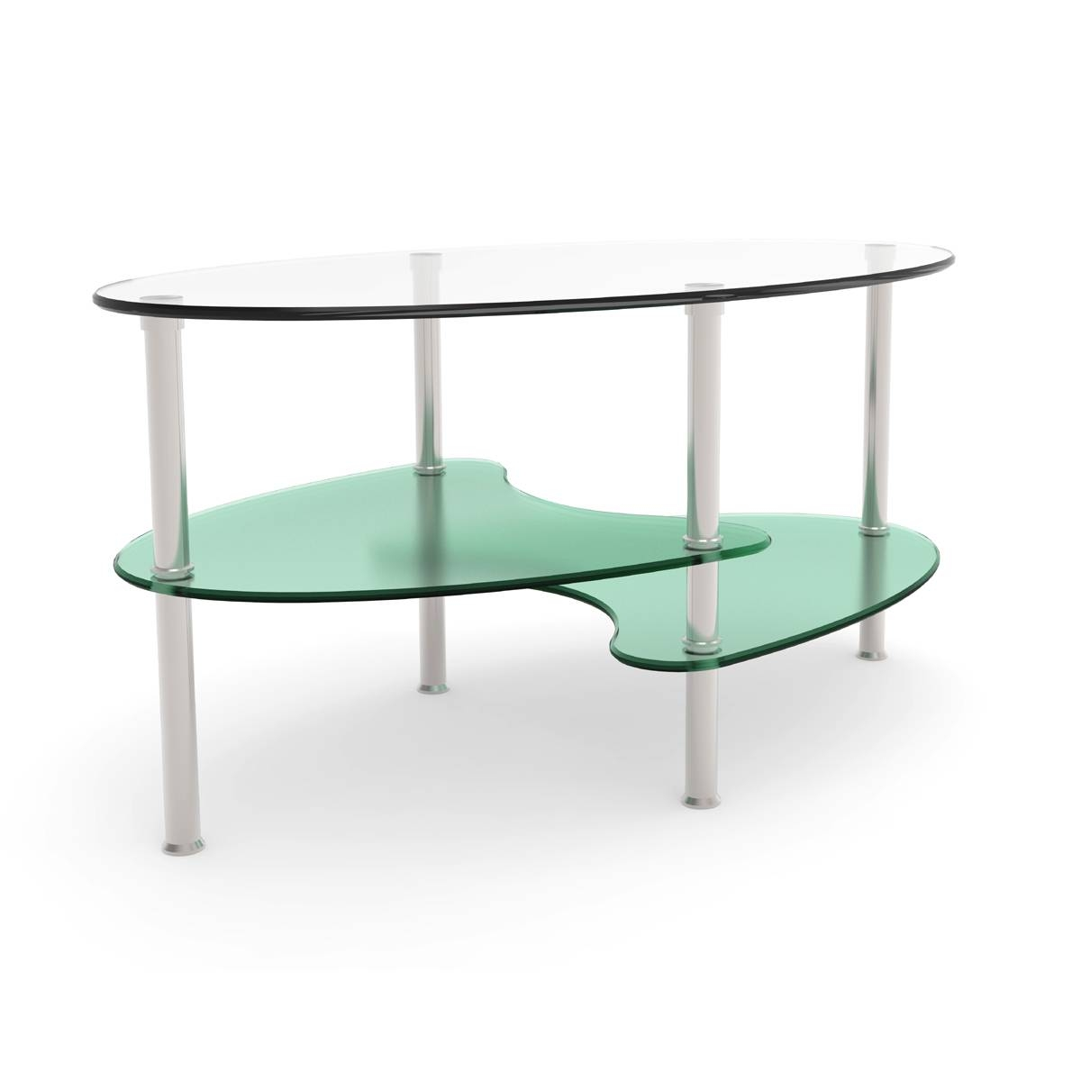 Ryan Rove Fenton 38 Inch Oval Two Tier Glass Coffee Table regarding Oval Glass Coffee Tables (Image 27 of 30)